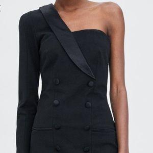 Zara black one sleeve tuxedo dress size xs